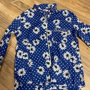 Victoria secrets blue/White button up pajamas set